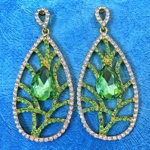 Leaf Green Crystal Chandelier Occasion Earrings